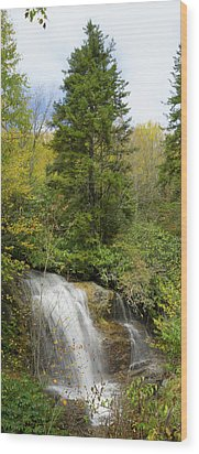 Wood Print featuring the photograph Roadside Waterfall In North Carolina by Mike McGlothlen