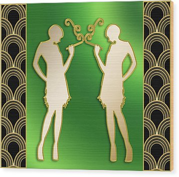 Wood Print featuring the digital art Roaring 20s Girls - Chuck Staley by Chuck Staley