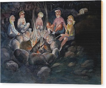 Roasting Marshmallows Wood Print by Marilyn Jacobson