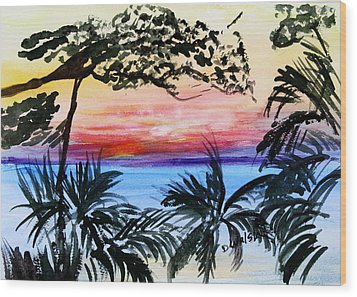Roatan Sunset Wood Print by Donna Walsh