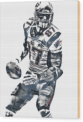 Rob Gronkowski New England Patriots Pixel Art 2 Wood Print by Joe Hamilton