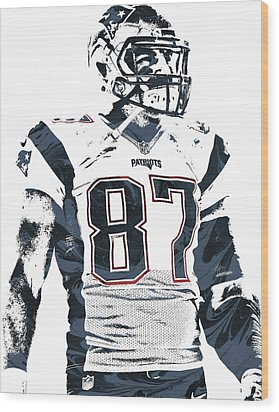 Rob Gronkowski New England Patriots Pixel Art 3 Wood Print by Joe Hamilton