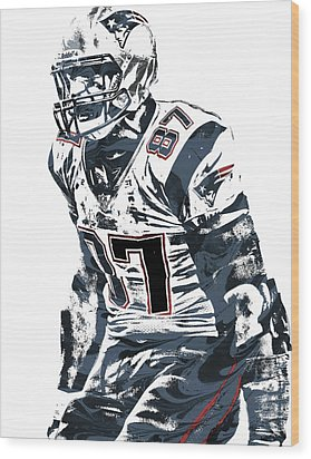 Rob Gronkowski New England Patriots Pixel Art 4 Wood Print by Joe Hamilton