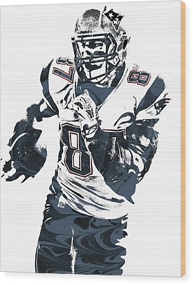 Rob Gronkowski New England Patriots Pixel Art 5 Wood Print by Joe Hamilton