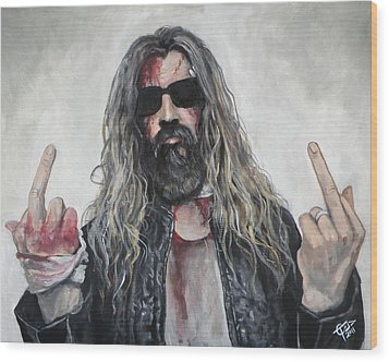 Rob Zombie Wood Print by Tom Carlton