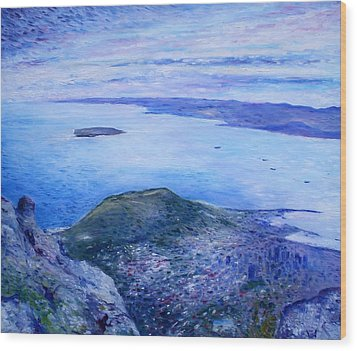 Robben Island From Table Mountain Cape Town South Africa Dawn 2000  Wood Print by Enver Larney