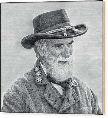 Robert E Lee Confederate General Portrait Wood Print by Randy Steele