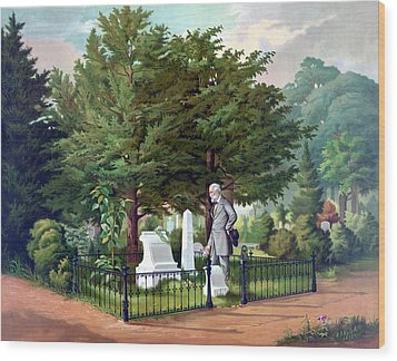 Robert E. Lee Visits Stonewall Jackson's Grave Wood Print by War Is Hell Store