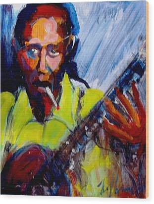 Wood Print featuring the painting Robert Johnson by Les Leffingwell