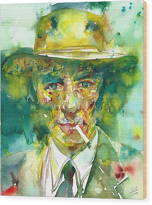 Wood Print featuring the painting Robert Oppenheimer - Watercolor Portrait.2 by Fabrizio Cassetta