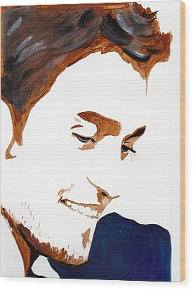 Robert Pattinson 14 Wood Print by Audrey Pollitt