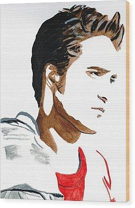 Robert Pattinson 17 Wood Print by Audrey Pollitt