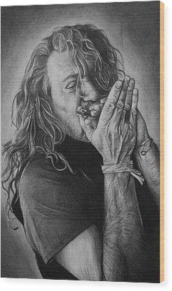 Robert Plant Wood Print by Steve Hunter