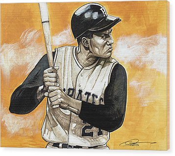 Roberto Clemente Wood Print by Dave Olsen