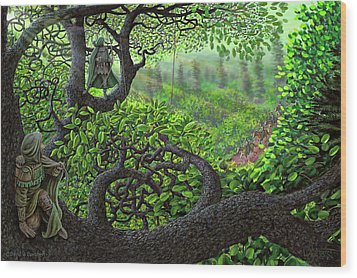 Wood Print featuring the painting Robin Hood by Dave Luebbert