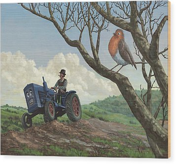Robin In Field Looking At Farmer Wood Print by Martin Davey