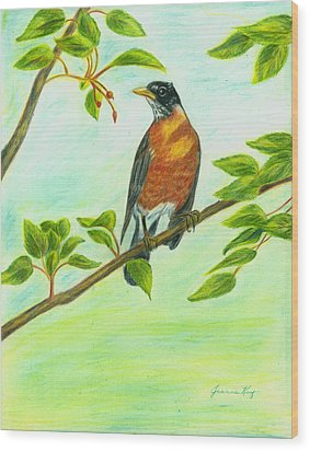 Wood Print featuring the painting Robin In Spring by Jeanne Kay Juhos