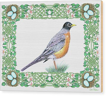 Robin In Spring Wood Print