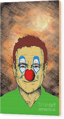 Wood Print featuring the drawing Robin Williams 1 by Jason Tricktop Matthews