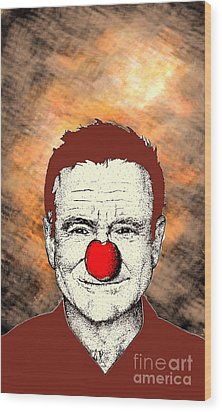 Wood Print featuring the drawing Robin Williams 2 by Jason Tricktop Matthews