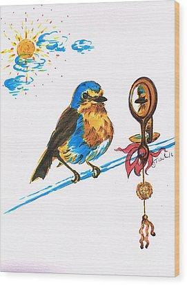 Robins Day Tasks Wood Print by Teresa White