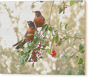 Wood Print featuring the photograph Robins In Holly by Peg Urban