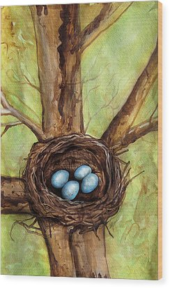 Robin's Nest Wood Print by Carrie Jackson