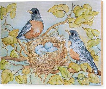 Robins Nest Wood Print by Inese Poga