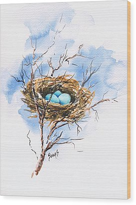 Robin's Nest Wood Print by Sam Sidders