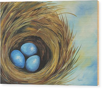 Robin's Three Eggs II Wood Print