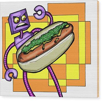 Robo V. Hotdog Wood Print by Christopher Capozzi