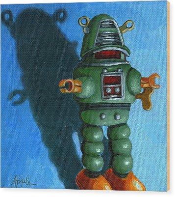 Robot Dream - Realism Still Life Painting Wood Print by Linda Apple