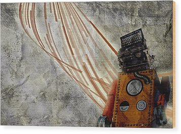 Robot Love Wood Print by Shawn Ross