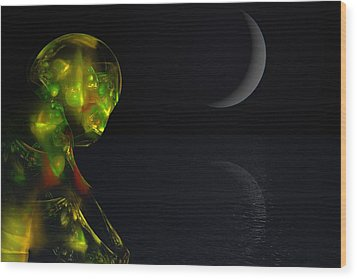 Robot Moonlight Serenade Wood Print by David Lane