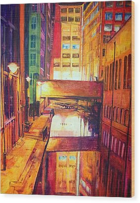 Rochdale Canal With Lock At Night Wood Print