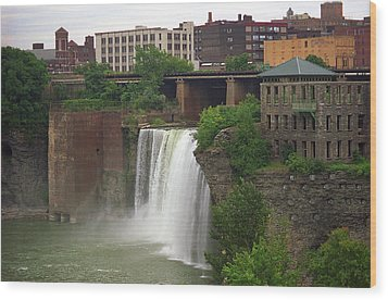 Wood Print featuring the photograph Rochester, New York - High Falls 2 by Frank Romeo