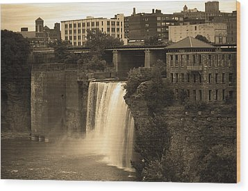 Wood Print featuring the photograph Rochester, New York - High Falls 2 Sepia by Frank Romeo