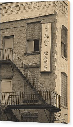 Wood Print featuring the photograph Rochester, New York - Jimmy Mac's Bar 2 Sepia by Frank Romeo