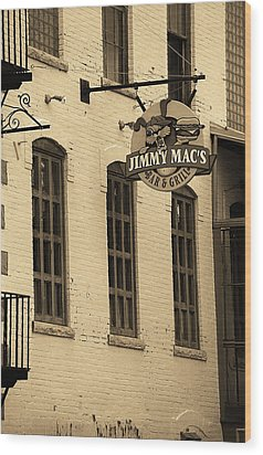 Wood Print featuring the photograph Rochester, New York - Jimmy Mac's Bar 3 Sepia by Frank Romeo