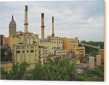 Rochester, Ny - Factory And Smokestacks 2005 Wood Print by Frank Romeo