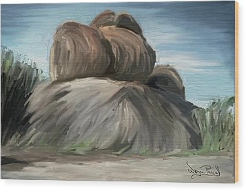 Wood Print featuring the painting Rock Adventure by Wayne Pascall