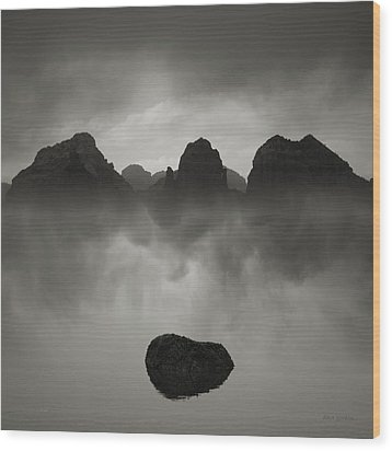 Rock And Peaks Wood Print by Dave Gordon