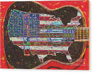 Rock And Roll America 20130123 Red Wood Print by Wingsdomain Art and Photography