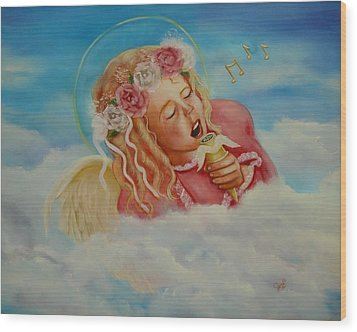 Wood Print featuring the painting Rock And Roll Angel by Joni McPherson
