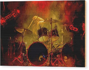 Rock And Roll Drum Solo Wood Print by Louis Ferreira