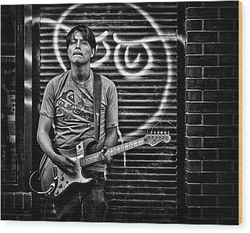 Rock And Roll In Kensington Market Wood Print by Brian Carson