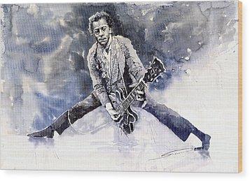 Rock And Roll Music Chuk Berry Wood Print by Yuriy  Shevchuk