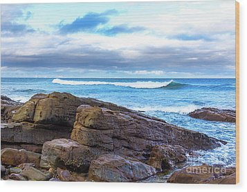 Wood Print featuring the photograph Rock And Wave by Perry Webster