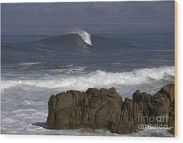 Rock And Wave Wood Print by Stan and Anne Foster