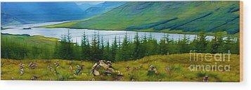 Rock Cairns In Scotland Wood Print